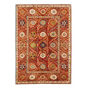 Hand knotted 7'11x5'7 Suzani  Wool Area Rug 243x171 cm Oriental Carpet