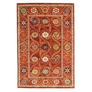 Handgeknüpft Suzani Teppich  303x200 cm Wolle Orientalisch