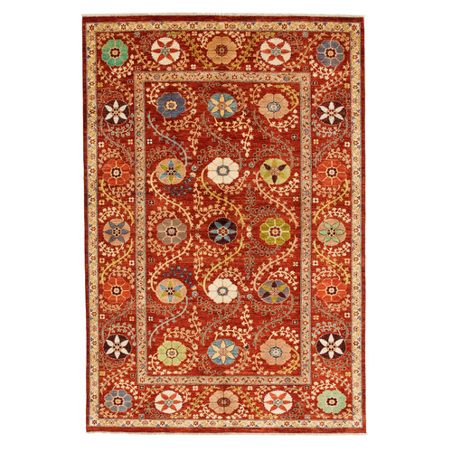 Hand knotted 9'11x6'6 Suzani  Wool Rug 301x199 cm  Oriental Carpet