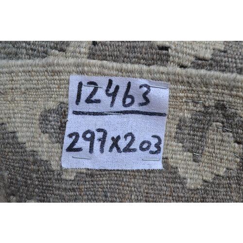 Vloerkleed Tapijt Kelim 297x203 cm Kleed Hand Geweven Kilim Grijs Natural kelim