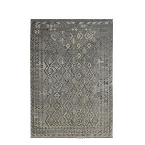 9'58x6'63 Sheep Wool Handwoven Natural Gray color Afghan kilim Area Rug Carpet