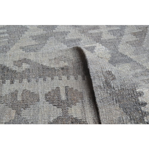 Vloerkleed Tapijt Kelim 292x202 cm Kleed Hand Geweven Kilim Grijs Natural kelim