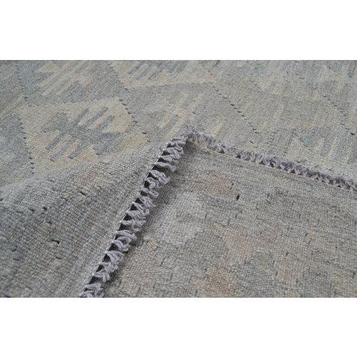 Vloerkleed Tapijt Kelim 290x202 cm Kleed Hand Geweven Kilim Grijs Natural kelim