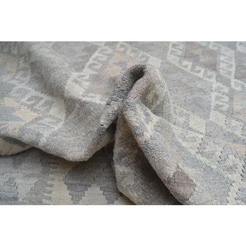 Vloerkleed Tapijt Kelim 293x203 cm Kleed Hand Geweven Kilim Grijs Natural kelim