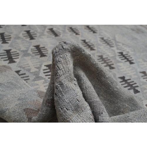 Vloerkleed Tapijt Kelim 297x206 cm Kleed Hand Geweven Kilim Grijs Natural kelim