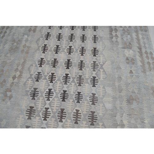 9'74x6'76 Sheep Wool Handwoven Natural Gray color Afghan kilim Area Rug Carpet
