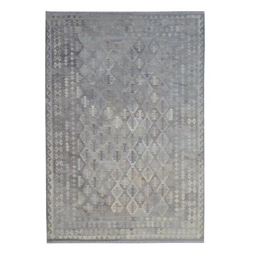 Vloerkleed Tapijt Kelim 299x208 cm Kleed Hand Geweven Kilim Grijs Natural kelim