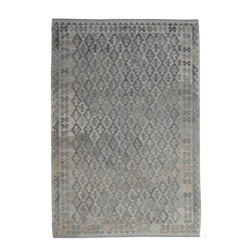 9'97x6'76 Sheep Wool Handwoven Natural Gray color Afghan kilim Area Rug Carpet