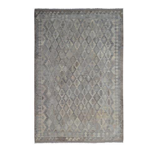 Vloerkleed Tapijt Kelim 295x200 cm Kleed Hand Geweven Kilim Grijs Natural kelim