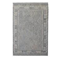 Vloerkleed Tapijt Kelim 294x201 cm Kleed Hand Geweven Kilim Grijs Natural kelim