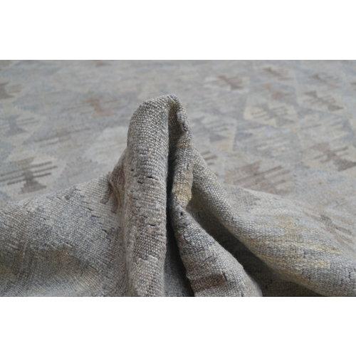 9'74x6'96 Sheep Wool Handwoven Natural Gray color Afghan kilim Area Rug Carpet