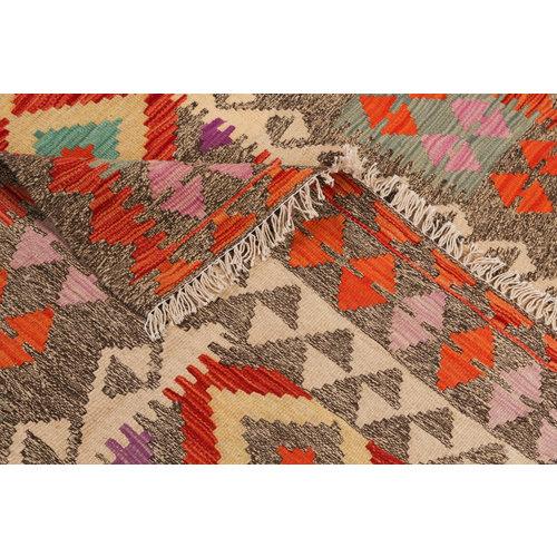 6'40x4'76 Sheep Wool Handwoven Multicolor Traditional Afghan kilim Area Rug