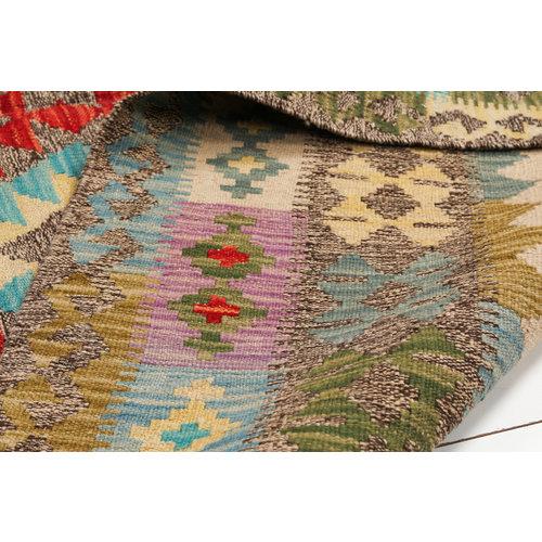 6'63x5'02 Sheep Wool Handwoven Multicolor Traditional Afghan kilim Area Rug