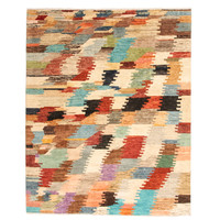 Hand knotted 8'1x6'4 Modern Art Deco Sheep Wool Rug 247x198 cm Area Rug Carpet