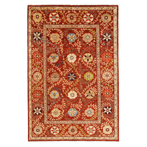 Hand knotted 9'7 x 6'5 Suzani  Wool Rug 294x197 cm  Oriental Carpet