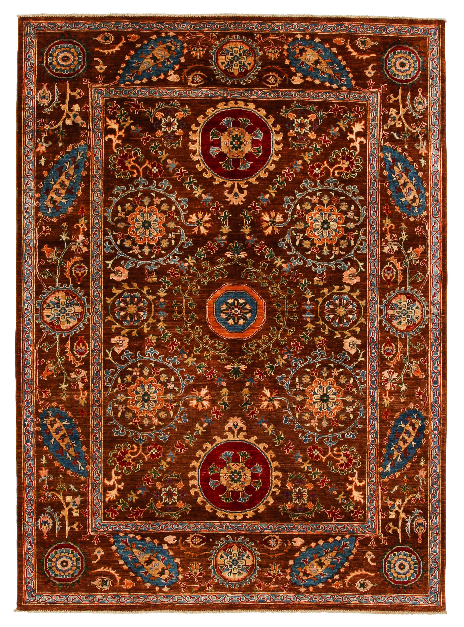 Hand Knotted 9 1 X 6 7 Suzani Wool Rug 278x203 Cm Oriental Carpet Zargar Rugs