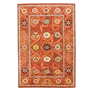 Hand knotted 9'10x6'6 Suzani  Wool Area Rug 301x200 cm Oriental Carpet