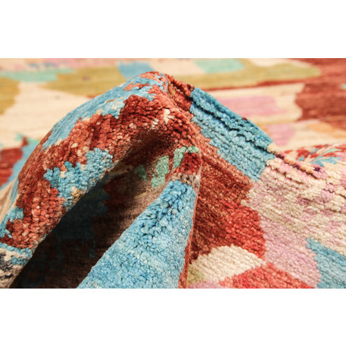 Hand knotted 8'0x6'5 Modern Art Multicolor Sheep Wool 244x199 cm Area Rug Carpet