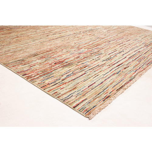 Hand knotted 8'2x6'4 ft Modern Stribe Sheep Wool Rug 250x197 cm Area rug Carpet