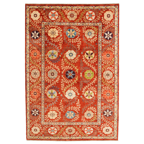 Hand knotted 9'11x6'9 Suzani  Wool Area Rug 303x206 cm Oriental Carpet