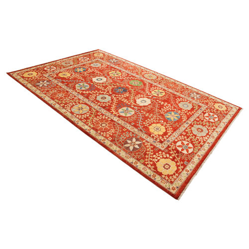 Hand knotted 9'10 x 6'7 Suzani  Wool Rug 301x201 cm  Oriental Carpet