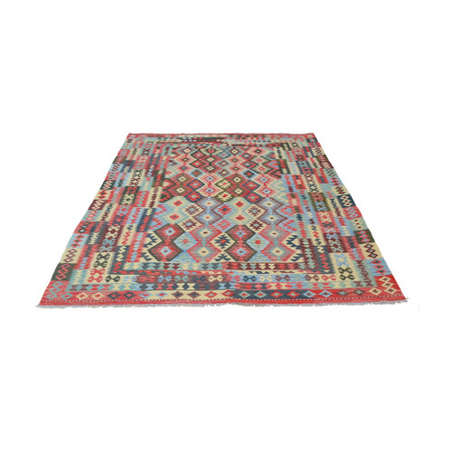 11'39x8'14 Sheep Wool Handwoven Multicolor Traditional Afghan kilim Area Rug