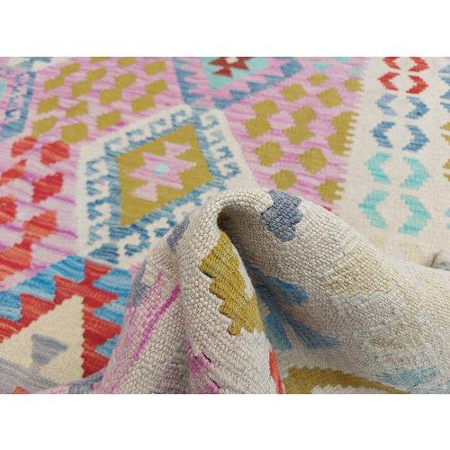 9'78x6'63 Sheep Wool Handwoven Multicolor Traditional Afghan kilim Area Rug
