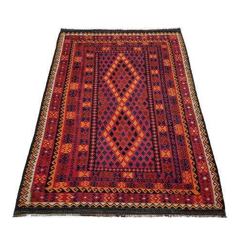 11'35x6'59 Sheep Wool Handwoven Multicolor Traditional Afghan kilim Area Rug