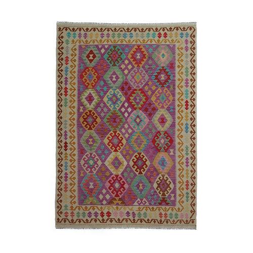 9'51x6'56 Sheep Wool Handwoven Multicolor Traditional Afghan kilim Area Rug