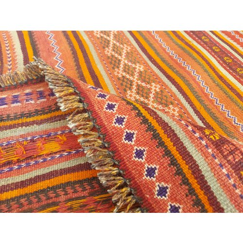 Handmade Afghan Kilim Hallway runner 11'09x4'46 Feet Traditional 100% Wool