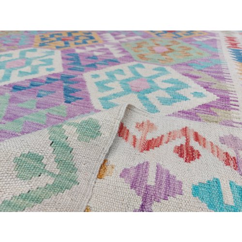 9'58x6'46 Sheep Wool Handwoven Multicolor Traditional Afghan kilim Area Rug