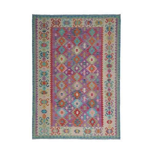 9'45x6'82 Sheep Wool Handwoven Multicolor Traditional Afghan kilim Area Rug
