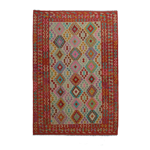 9'91x6'50 Sheep Wool Handwoven Multicolor Traditional Afghan kilim Area Rug