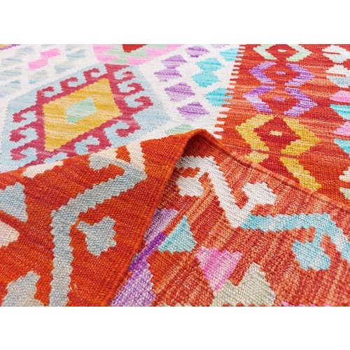 9'91x6'50 Sheep Wool Handwoven Multicolor Traditional Afghan kilim Area Rug