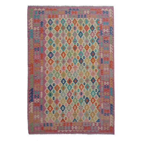 9'88x6'63 Sheep Wool Handwoven Multicolor Traditional Afghan kilim Area Rug