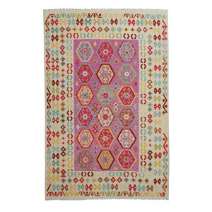 9'61x6'50 Sheep Wool Handwoven Multicolor Traditional Afghan kilim Area Rug