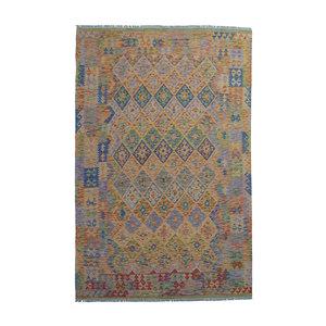 9'91x6'73 Sheep Wool Handwoven Multicolor Traditional Afghan kilim Area Rug