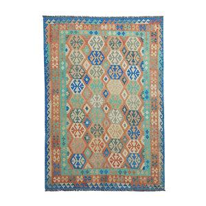 9'68x6'66 Sheep Wool Handwoven Multicolor Traditional Afghan kilim Area Rug