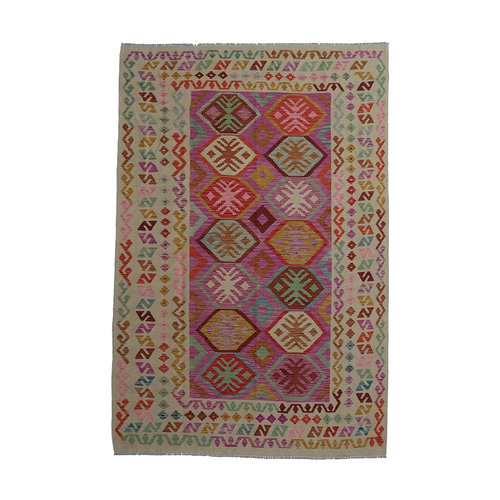 exclusive  Vloerkleed Tapijt Kelim 297x192 cm Kleed Hand Geweven Kilim