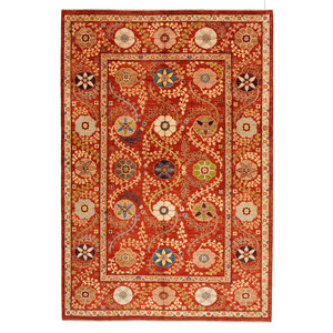 Hand knotted 9'9 x 6'7 Suzani  Wool Rug 299x201 cm  Oriental Carpet