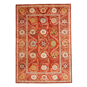 Hand knotted 10'1 x 6'10 Suzani  Wool Rug 308x210 cm  Oriental Carpet