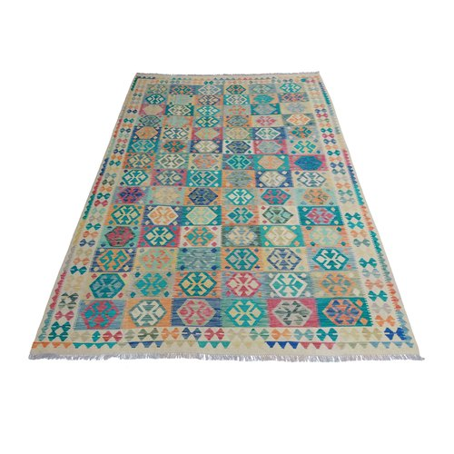 11'58x8'33  Sheep Wool Handwoven Multicolor Traditional Afghan kilim Area Rug