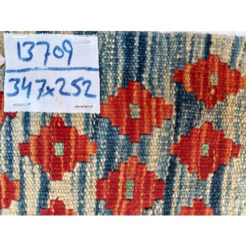 exclusive  Vloerkleed Tapijt Kelim 347x252 cm Kleed Hand Geweven Kilim