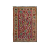 9'55x6'73 Sheep Wool Handwoven Multicolor Traditional Afghan kilim Area Rug