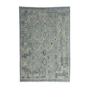 9'35x6'73 Sheep Wool Handwoven Multicolor Traditional Afghan kilim Area Rug
