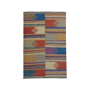 9'55x6'56 Sheep Wool Handwoven Multicolor Modern Afghan kilim Area Rug