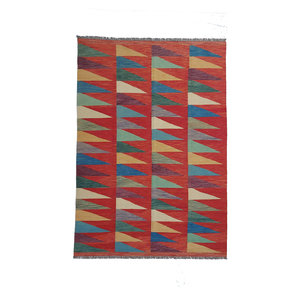 9'74x6'53 Sheep Wool Handwoven Multicolor Modern Afghan kilim Area Rug
