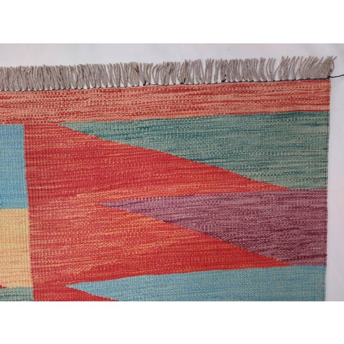 9'74x6'53 Sheep Wool Handwoven Multicolor Modern Afghan kilim Area Rug