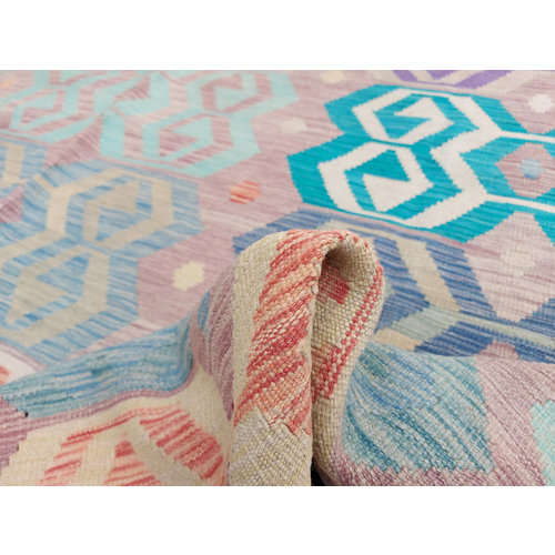 11'81 x 8'36 Sheep Wool Handwoven Multicolor Traditional Afghan kilim Area Rug