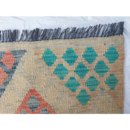 exclusive  Vloerkleed Tapijt Kelim 335 x 249 cm Kleed Hand Geweven Kilim